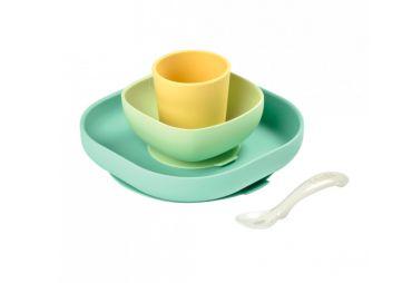 BEABA set vaisselle silicone 4pcs jaune