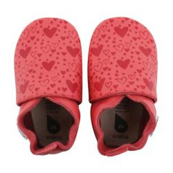 Chaussons cuir souple spiced coral heart