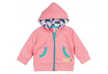 Gilet capuche fines rayures corail