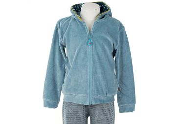 Pull zippé enfant en velours Smoke blue