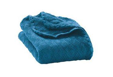 Couverture en laine bio bebe bleu turkis