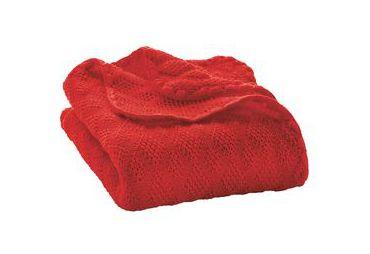 Couverture laine bio bebe rouge