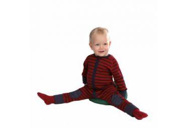 Pyjama hygiène naturelle rayé rouge bleu
